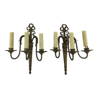 French Louis XVI Style Brass 3-Light Ribbon Top Sconces - a Pair