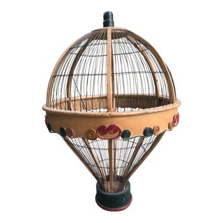 Vintage Mid Century Balloon Shape Bird Cage Decor For Sale