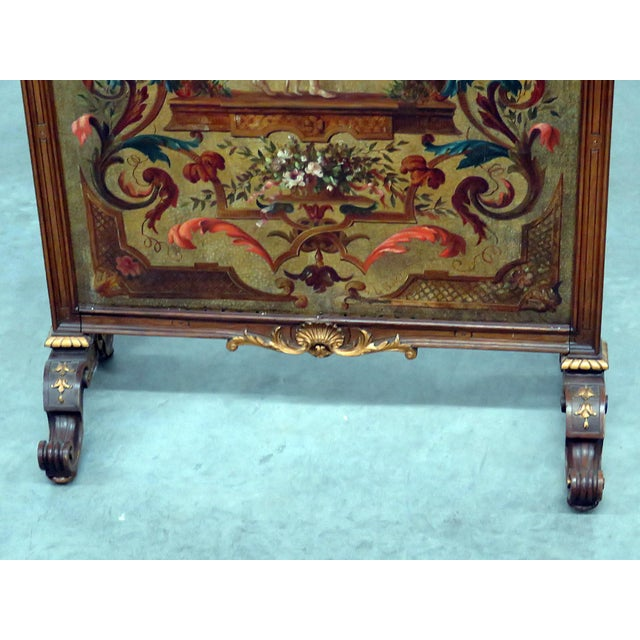 Regency Style Oil Painted Screen For Sale - Image 4 of 7