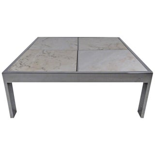Pace Collection Marble and Chrome Coffee Table For Sale