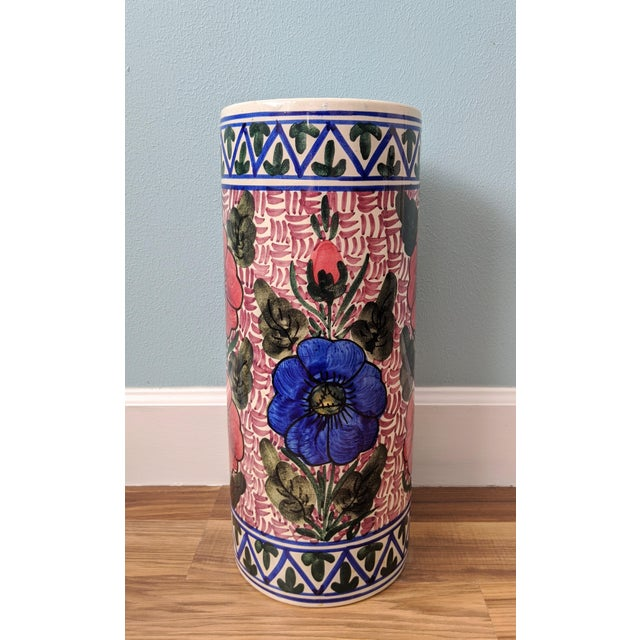 Late 20th Century 20th Century Floral Blue and Pink Ceramic Umbrella Stand For Sale - Image 5 of 11