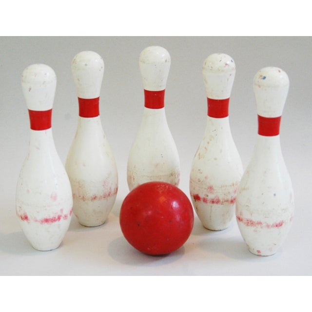 1940s Child's Wood Bowling Pins & Ball - Set of 6 - Image 5 of 10