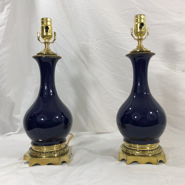 19th Century Pair of Napoleon III Blue Glazed Oil Lamps With Bronzed Mounts For Sale - Image 11 of 11