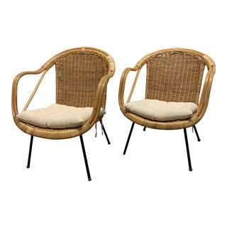 Vintage Rattan Lounge Chairs - a Pair For Sale