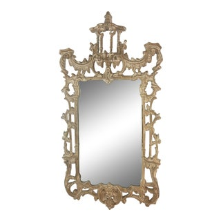 Chinoiserie Mirror in Washed Finish For Sale