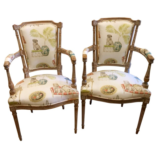 Antique Directoire Chairs with Dogs Fabric - Pair - Image 1 of 4