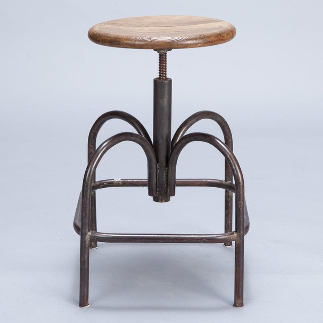 Vintage Wood & Steel Industrial Stool - Image 4 of 5