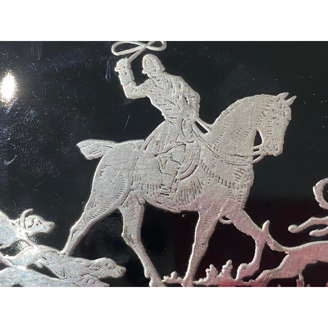 Art Deco English Sterling Silver Black Glass Box Fox Hunt For Sale - Image 12 of 13