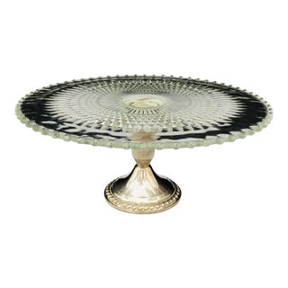 Antique Sterling Silver & Glass Cake Stand For Sale
