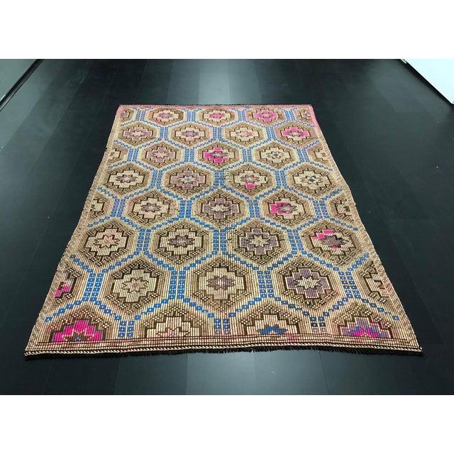 1960s Vintage Primitive Nomadic Aztec Turkish Traditional Wool Handmade Kilim Rug- 6′ × 8′8″ For Sale - Image 11 of 11