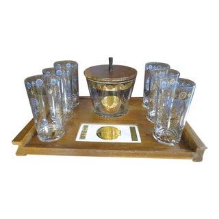 Vintage Mid Century Modern Teak Ice Bucket, Tray, Glasses Set, C1960 - Set of 8 For Sale