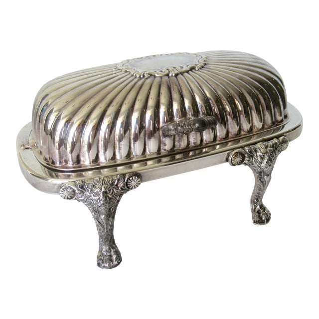 Wm. Rogers Silver Plate Platform Claw Footed Domed Butter Dish -2 Pieces For Sale