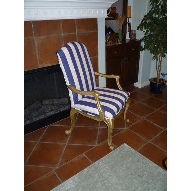 Regal Gold & Blue Striped Chair - Image 9 of 10