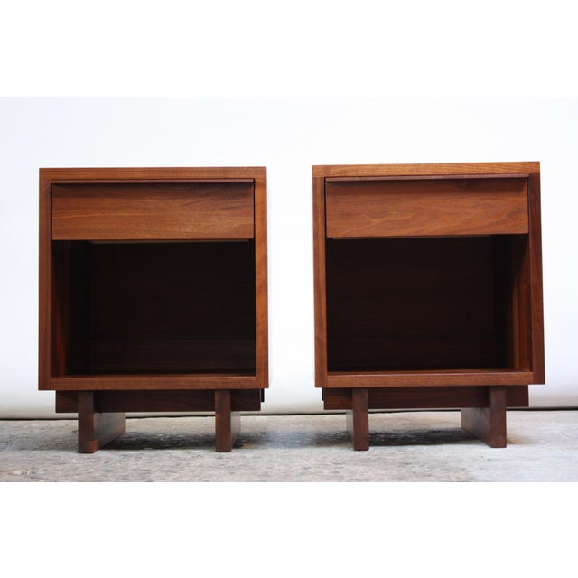 Pair of Vintage New England Solid Walnut Nightstands - Image 13 of 13
