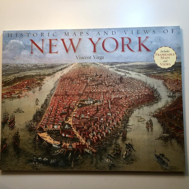 Blue Historic Maps Views of New York Coffee Table Book For Sale - Image 8 of 8