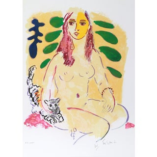 Wayne Ensrud, Lady With Cat, Lithograph For Sale
