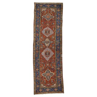 20th Century Persian Heriz Hallway Runner - 3′2″ × 9′9″ For Sale