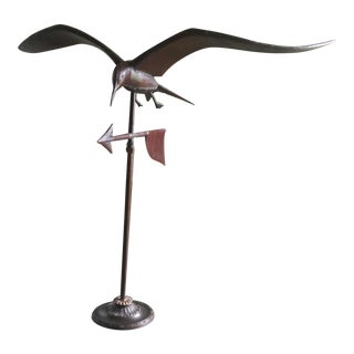 Vintage Mid Century Copper Weather Vane Swallow Tail Kite For Sale