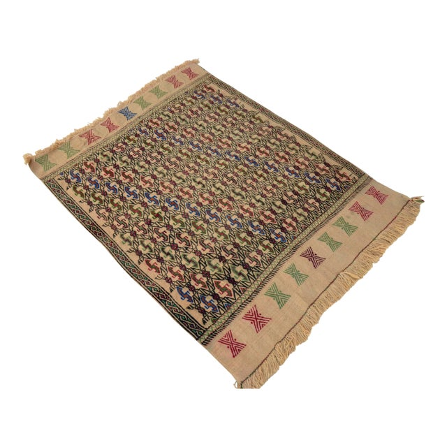 "Vintage Braided Kilim Rug Turkish Hand Woven WoolRug Sofreh - 3' X 3'10"" For Sale"