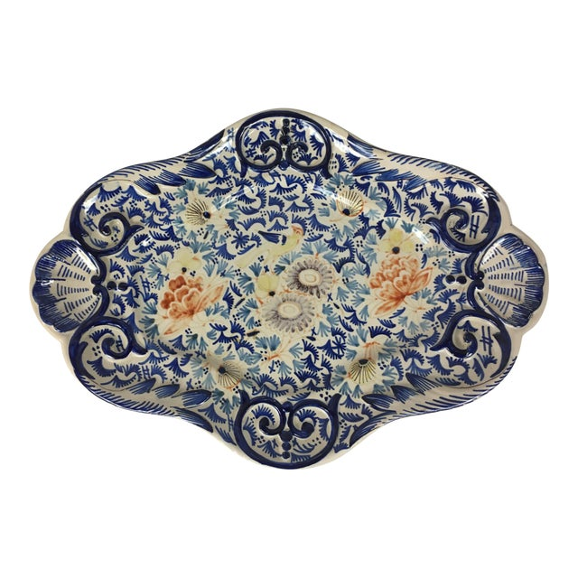 19th Century Rouen French Traditional Hand-Painted Serving Platter For Sale