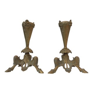 French Art Nouveau Gilt Cast Bronze Candlesticks- A Pair For Sale