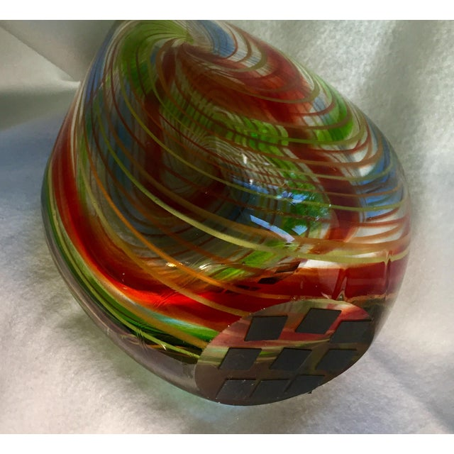 Blue Large Mid-Century Murano Multi-Colored Swirl Teardrop Vase Attributed to Dino Martens For Sale - Image 8 of 9