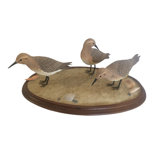 Nantucket Oval Tabletop Sculpture of Carved Wood Sandpipers on the Beach For Sale