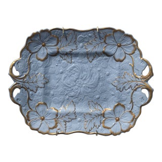 Circa 1830 Blue and Gilt Shaped Relief Ridgway Platter For Sale