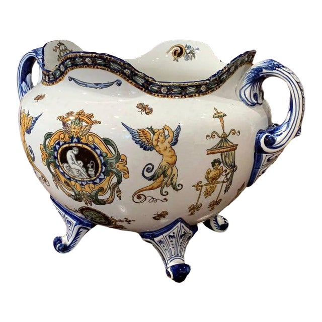 19th Century French Louis XV Hand Painted Porcelain Cache Pot Signed Gien For Sale