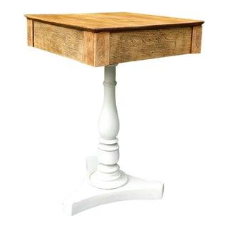1920s Farmhouse Pedestal Douglas Fir and Creme Base Side Table For Sale