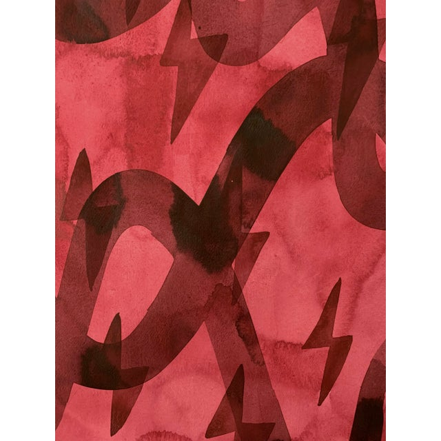 Original painting by artist Kate Roebuck. Painting features abstract forms rendered in watercolor, inks and flashe on...