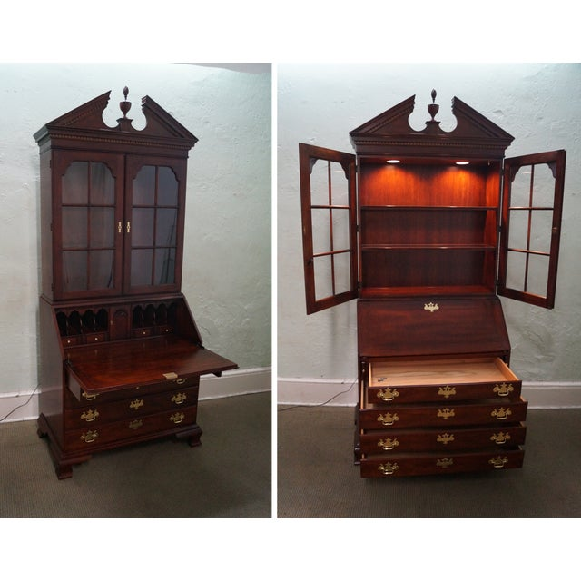 Statton Solid Cherry Chippendale Secretary Desk - Image 2 of 10