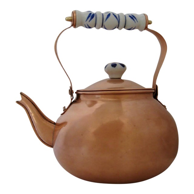 Copper & Porcelain Teapot For Sale