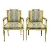 Image of Vintage Mid Century French Louis XVI Style Carved Cream Painted Fauteuil Dining Arm Chairs- A Pair For Sale