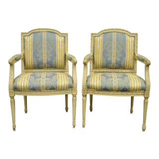 Vintage Mid Century French Louis XVI Style Carved Cream Painted Fauteuil Dining Arm Chairs- A Pair For Sale