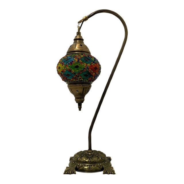 Turkish Handmade Mosaic Table Lamp For Sale