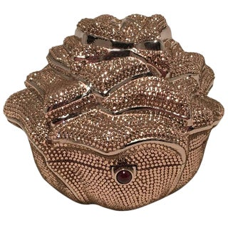 Judith Leiber Pink Swarovski Crystal Rose Minaudiere Evening Bag For Sale
