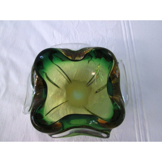 Midcentury Green & Yellow Art Glass Bowl - Image 6 of 6