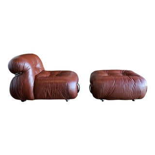 Afra & Tobia Scarpa for Cassina Soriana Lounge Chair & Ottoman For Sale
