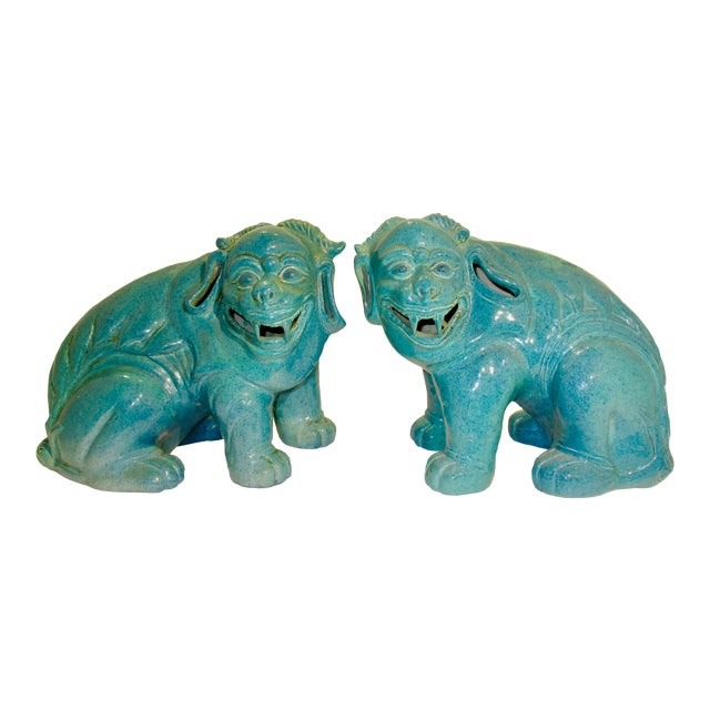 Chinese Porcelain Mythological Beasts in Robin's Egg Blue Glaze - a Pair For Sale
