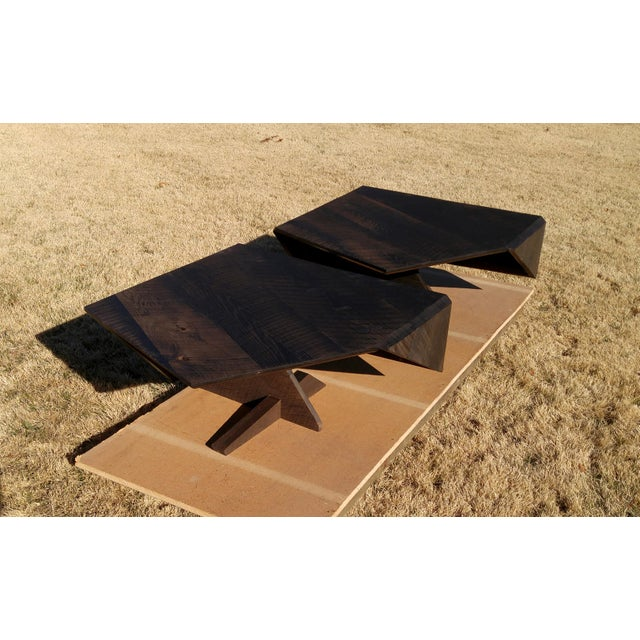 Black Modern Ebonized Oak Barnwood Coffee Tables - Pair For Sale - Image 8 of 11