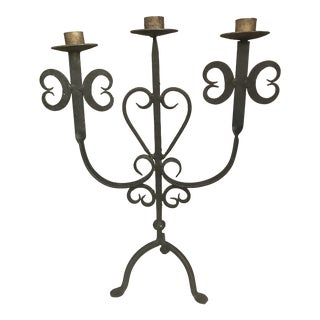 Vintage Hand Forged Wrought Iron Candelabra Holder For Sale