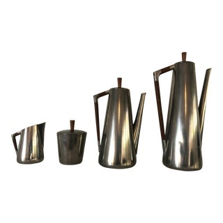 Vintage Mid-Century Modern Pewter and Teak Coffee & Tea Set by Royal Holland For Sale