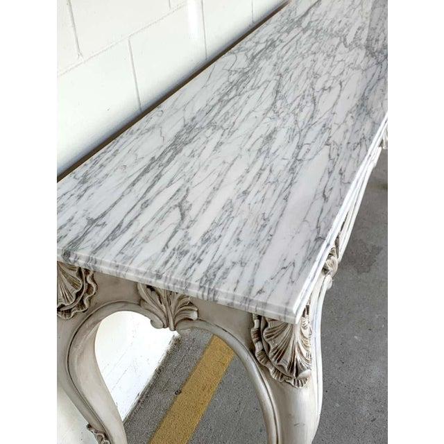 French Neoclassical Grey Painted Marble-Top Console Table For Sale - Image 9 of 10