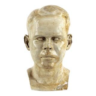Vintage Mid-Century Plaster Bust Sculpture For Sale