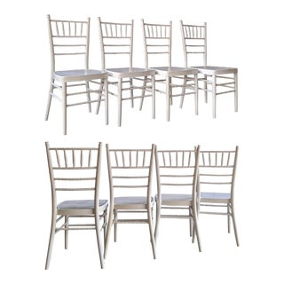 Single White Metal Chiavari Patio Chair (6 Available) For Sale