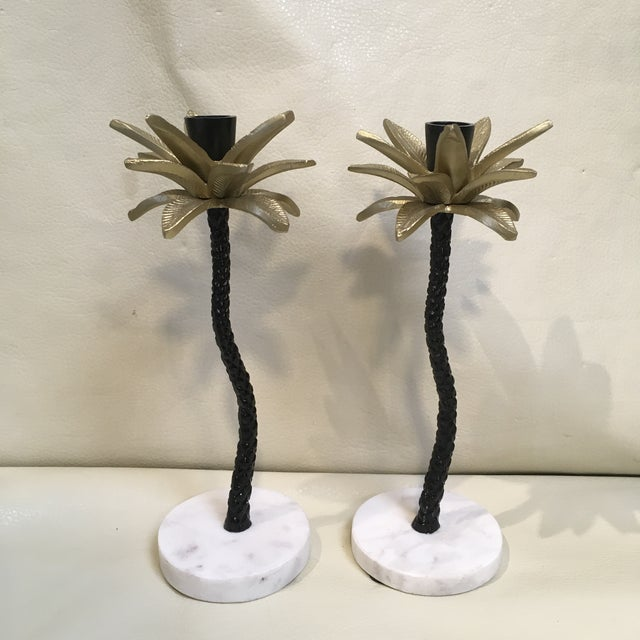 2010s Palm Tree Candle Holders - a Pair For Sale - Image 5 of 7