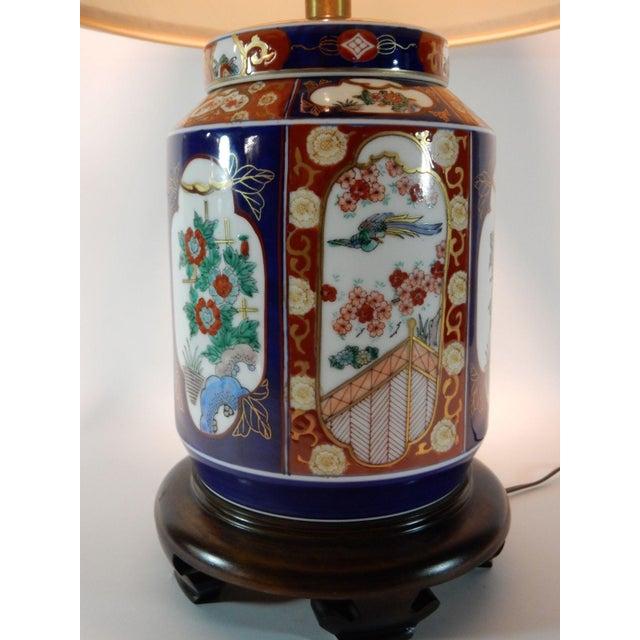 Japanese Imari Ginger Jar Lamp & Silk Shade For Sale - Image 6 of 9