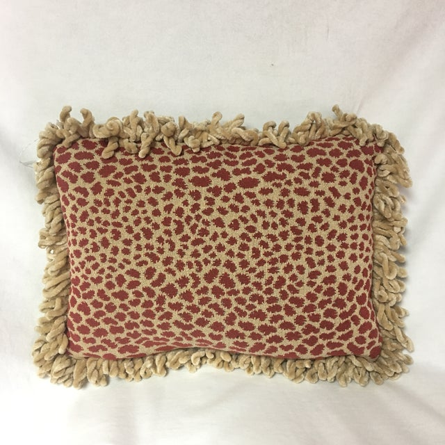 Boho Chic Brunschwig & Fils Fabric Pillow with Chenille Loop Fringe For Sale - Image 3 of 3