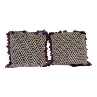 Antique Silk Fabric Pillows - a Pair For Sale
